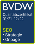 SEO BVDW Zertifikat 2021/22 Puetter Online Marketing Köln